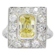 1930's 2.97 CTW Fancy Intense Yellow & White Diamond Platinum Alternate Ring GIA