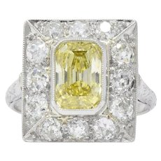 1930's 2.97 CTW Fancy Intense Yellow & White Diamond Platinum Alternate Ring GIA