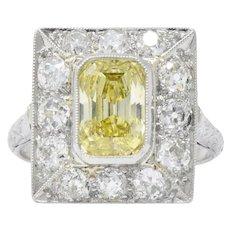 Art Deco 2.97 CTW Fancy Intense Yellow Diamond, Diamond Platinum Engagement Ring GIA