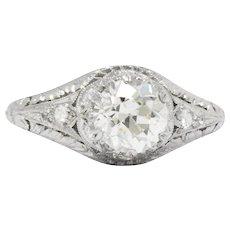 Edwardian 1.08 CTS Diamond And Platinum Engagement Ring, GIA