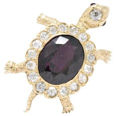 Victorian Garnet Diamond Ruby And 14 Karat Gold Turtle Pendant