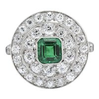 J.E. Caldwell 2.05 CTW Art Deco Emerald Diamond & Platinum Cocktail Alternative Ring