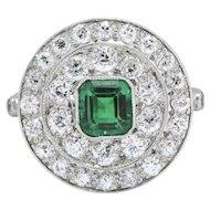 J.E. Caldwell 2.05 CTW Art Deco Emerald Diamond & Platinum Cocktail Alternative Ring