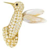Van Cleef & Arpels 2.75 CTW Diamond Pearl Onyx And 18 Karat Gold Hummingbird Brooch