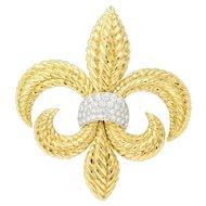 Large David Webb 1.80 CTW Diamond Platinum 18 Karat Gold Fleur-De-Lis Brooch