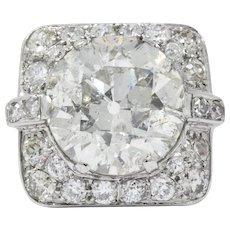 Art Deco 10.07 CTW Diamond And Platinum Engagement Ring
