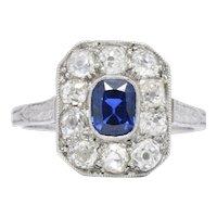 Art Deco 1.85 CTW Sapphire Diamond And Platinum Alternative Ring GIA