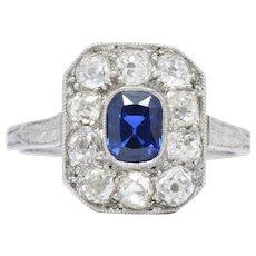 Art Deco 1.85 CTW Sapphire Diamond And Platinum Cluster Alternative Engagement Ring