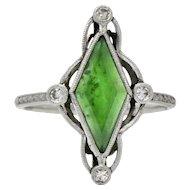 Art Deco Jade Diamond And Platinum Navette Dress Ring