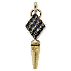 Victorian Celtic Knot Diamond Enamel And 14 Karat Gold Watch Key Pendant