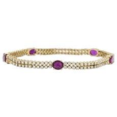3.75 CTW Ruby 2.35 CTW Diamond And 14 Karat Gold Bracelet