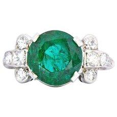 1930's 3.58 CTW Emerald & Old European Cut Diamond Alternative Ring