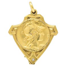 Art Nouveau Diamond And 18 Karat Gold Locket Pendant Attributed To Unger Bros