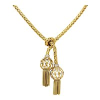 Retro Pierre Sterlé Paris Diamond Platinum And 18 Karat Gold Tassel Necklace