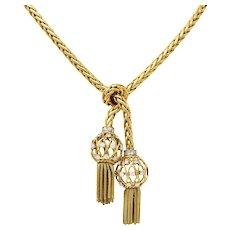 Retro Pierre Sterlé Paris Diamond Platinum And 18 Karat Gold Tassel Necklace