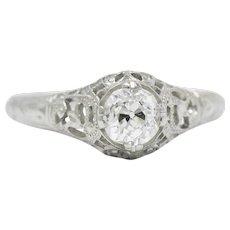 Edwardian 0.50 CTS Diamond And 18 Karat White Gold Engagement Ring GIA