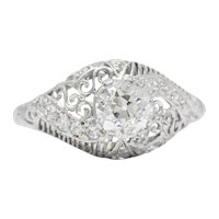 Delicate Edwardian 0.95 CTW Diamond Platinum Filigree Engagement Ring GIA