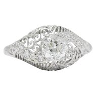 Delicate Edwardian 0.95 CTS Diamond And Platinum Filigree Engagement Ring, GIA