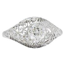 Delicate Edwardian 0.95 CTS Diamond And Platinum Filigree Engagement Ring, GIA