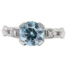 Art Deco 2.35 Carats Zircon Diamond And 14 Karat White Gold Ring