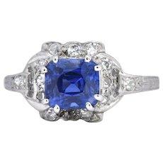 Art Deco 1.67 CTW Unheated Kashmir Sapphire Diamond & Platinum Ring AGL Certified