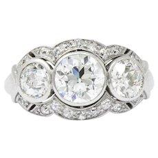Retro Three Stone 2.60 Carat Diamond And Palladium Ring Circa 1940