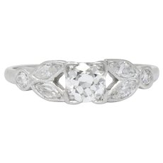 Late Art Deco 0.60 CTW Diamond And Platinum Engagement Ring