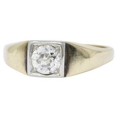 Retro 0.45 Carats Diamond Platinum And 14 Karat Gold Solitaire Engagement Ring