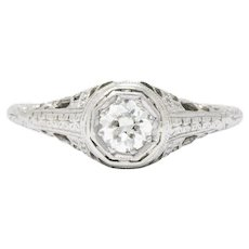Art Deco 0.35 Carats Diamond And 19 Karat White Gold Engagement Ring