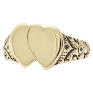 Victorian 14 Karat Gold Men's Double Heart Ring L. Tassara