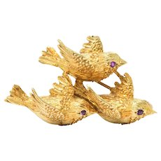 Retro Tiffany & Co. Ruby And 18 Karat Gold Three Bird Brooch