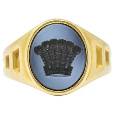 Hardstone And 18 Karat Gold Unisex Intaglio Crown Signet Ring