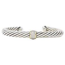 David Yurman 0.30 CTW 18 Karat Gold Diamond Sterling Silver Cable Bangle