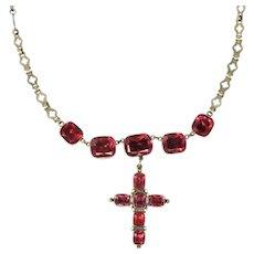 Georgian Foil Back Quartz 14 Karat White Cross Necklace