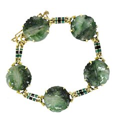 Art Nouveau Carved Jade Enamel And 14 Karat Gold Bracelet