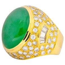 Contemporary Jadeite Jade Diamond 18 Karat Gold Large Cocktail Ring GIA