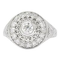 Graceful Art Deco 0.90 CTW Diamond Platinum Cluster Filigree Halo Engagement Ring