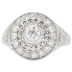 Graceful Art Deco 0.90 CTW Diamond Platinum Cluster Alternative Engagement Ring