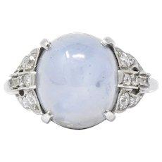 Art Deco 14.85 CTW Star Sapphire Diamond Platinum Alternative Ring