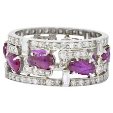 Bold Art Deco 2.50 CTW Diamond Carved Burmese Ruby Platinum Band Ring