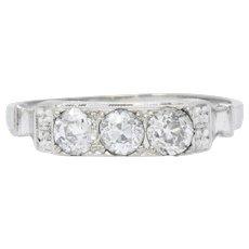Art Deco 0.57 CTW Diamond 18 Karat White Gold Three Stone Band Ring