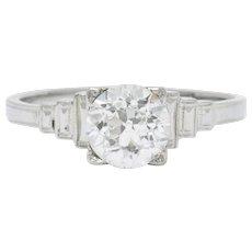 Art Deco 1.23 Carat Diamond Platinum Engagement Ring GIA