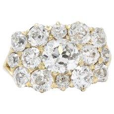 Kohn Victorian 4.00 CTW Diamond 18 Karat Gold Cluster Ring