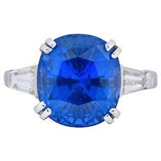 Art Deco 8.62 CTW No Heat Ceylon Sapphire Diamond Platinum Ring AGL