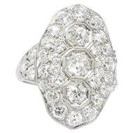 2.50 Carat Impressive Art Deco Platinum Diamond Cocktail Ring