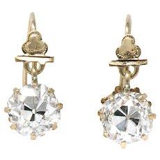 Victorian 2.08 CTW Diamond 10K Rose Gold Drop Earrings GIA