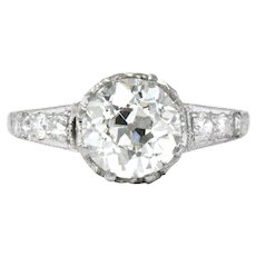 Edwardian 1.64 CTW Diamond Platinum Engagement Ring GIA