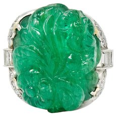 Art Deco 15.60 CTW Carved Colombian Emerald Diamond Platinum Ring