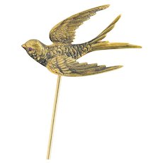 Riker Bros Art Nouveau Ruby 14 Karat Gold Bird Hat Pin
