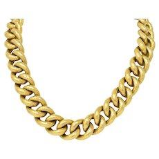 Bold Contemporary 18 Karat Gold Link Necklace